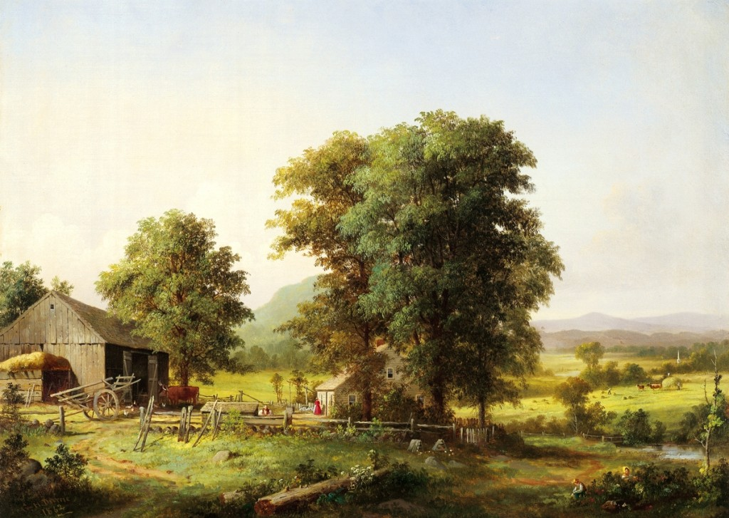"""""""Summer Landscape"""" by George Henry Durrie (1820–1863), 1862, oil on canvas, 22 by 30 inches. Florence Griswold Museum, gift of the Hartford Steam Boiler Inspection and Insurance Company."""