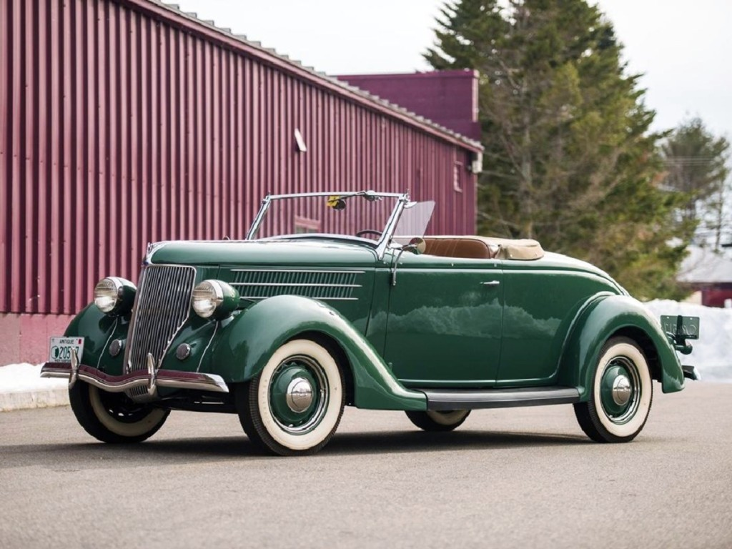 Selling well past its estimate at $140,000, this 1936 Ford V-8 Deluxe Roadster was a very popular car in its day. Dingman had the engine rebuilt by Roush Performance Products. Only 3,862 were built and this one is probably the only one with a Roush-built V8.