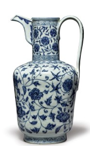 An exceptionally rare and important blue and white ewer,   Xuande mark and period, 33 inches high, sold fo $3,135,000   (estimate $600/800,000), ex Detring / Von Hanneken collection.