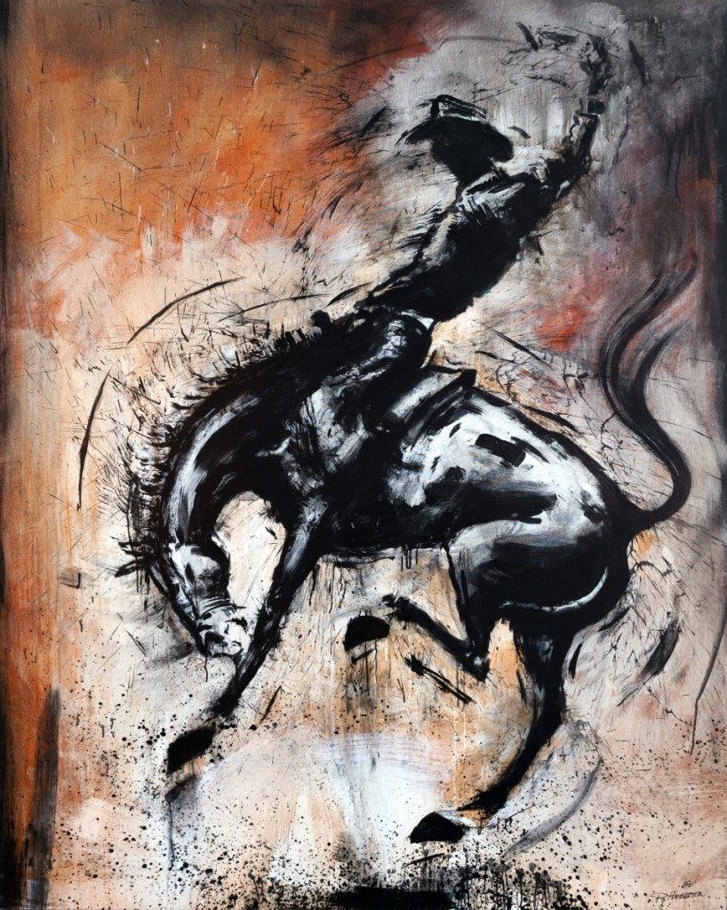 """""""Rodeo (Rust)"""" by Richard Hambleton, 2006, acrylic on canvas, 81 by 64½ inches."""