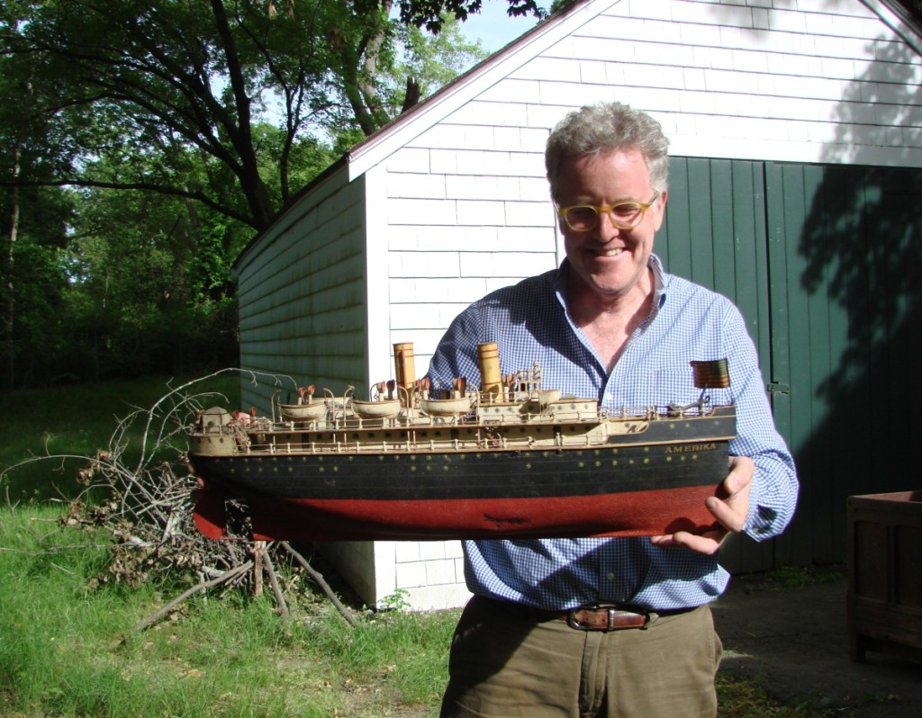 Gallery director Dan Meader had been storing the Marklin tin boat Amerika in his van for safekeeping. It was the highest priced item in the sale, earning $120,750.