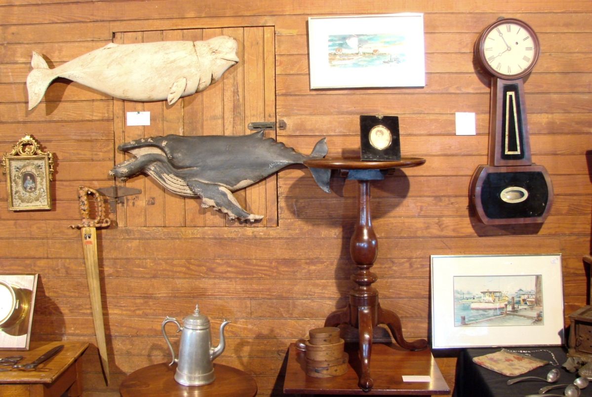 Although carved whales by Clark Voorhees are well-known and popular with folk art collectors, Harry Hepburn III, Harrison, Maine, had some fine whale carvings by Wick Ahrens, who had been mentored by Voorhees.