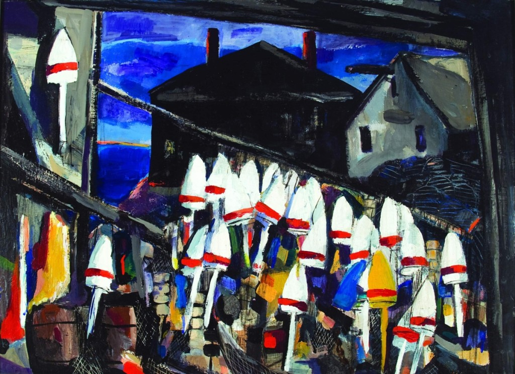 """Lobster Buoys"" by Jacqueline Hudson (1910–2001), 1971, oil on panel, 22 by 30 inches. Bequest of Jacqueline Hudson, 2002."