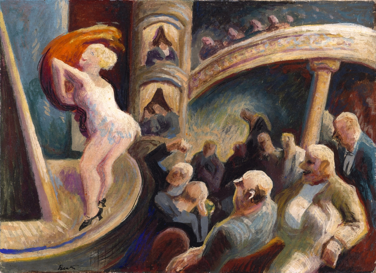 """""""Burlesque"""" by Thomas Hart Benton (1889–1975), circa 1922, tempera on panel, 9½ by 12½ inches. Philadelphia Museum of Art, bequest of Edward Suckle, MD."""