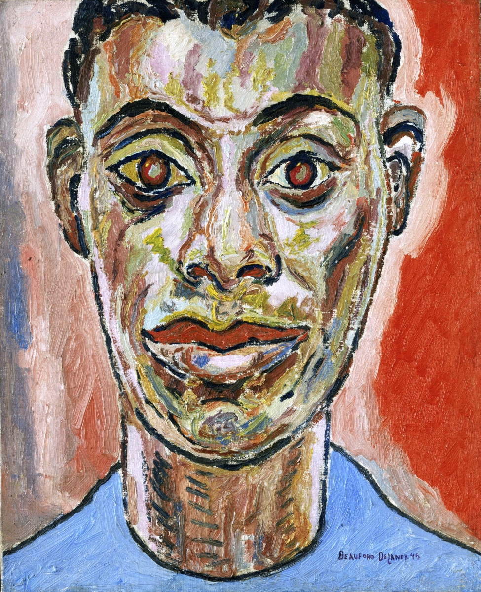 """""""Portrait of James Baldwin"""" by Beauford Delaney (1901–1979), 1945, oil on canvas, 22 by 18 inches. Philadelphia Museum of Art: 125th anniversary acquisition, purchased with funds contributed by the Daniel W. Dietrich Foundation in memory of Joseph C. Bailey and with a grant from the Judith Rothschild Foundation."""