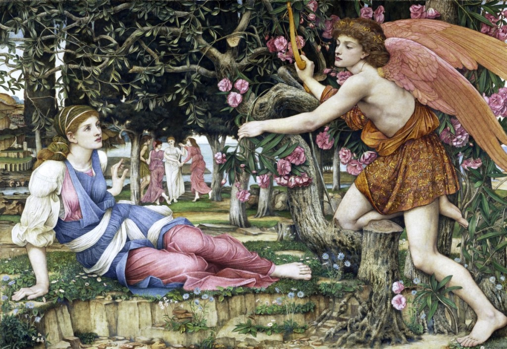 "John Roddam Spencer Stanhope, ""Love and the Maiden,"" 1877, oil, old paint and gold leaf on canvas, 54 by 79 inches. Fine Arts Museums of San Francisco, Museum purchase, European Art Trust Fund, Grover A. Magnin Bequest Fund and Dorothy Spreckels Munn Bequest Fund."