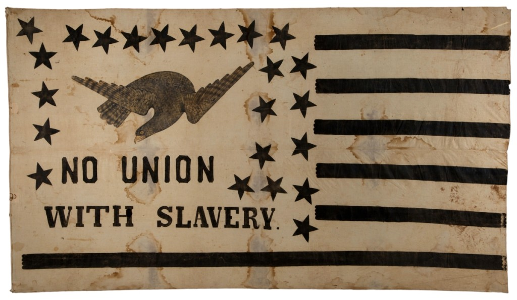 The top lot of the sale was this rare and historically important antislavery flag banner, which sold for $46,800 to Jeff Bridgman.