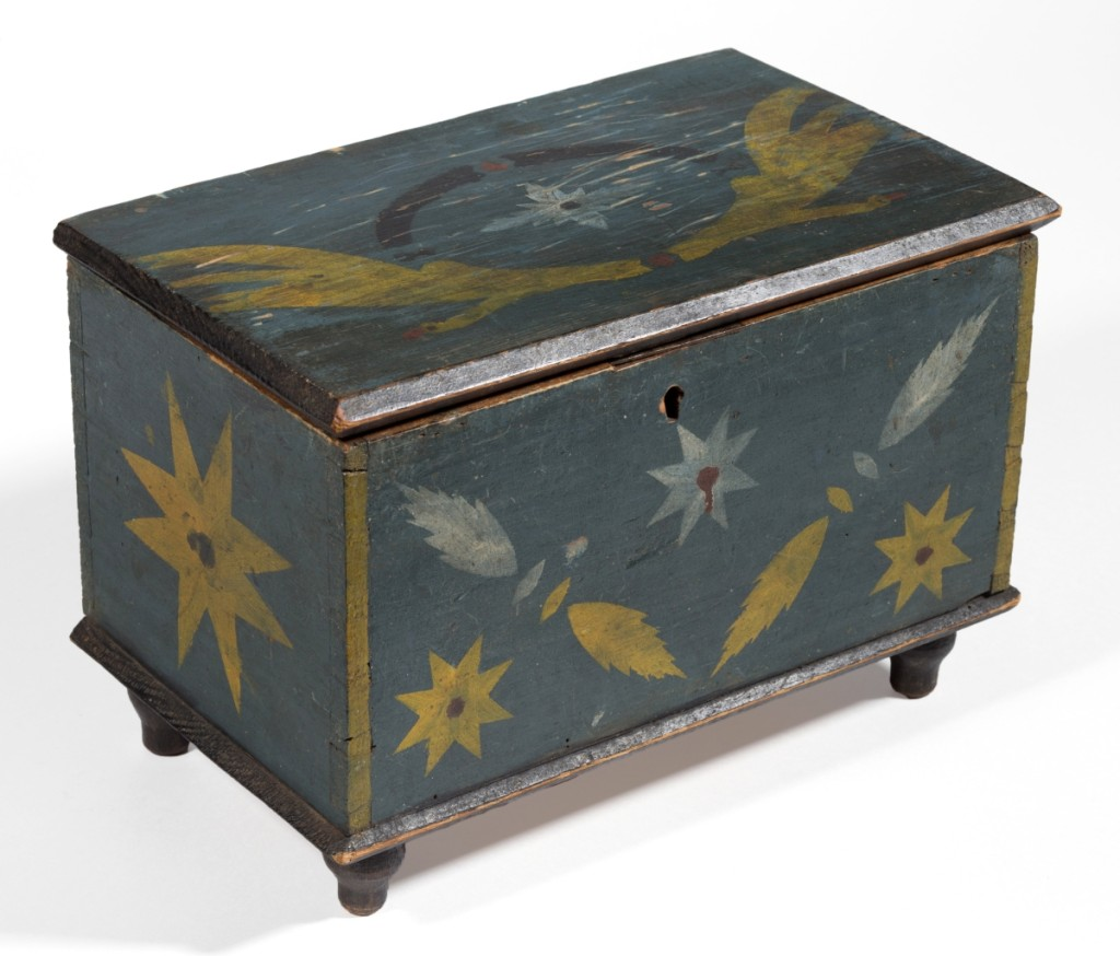 Stirewalt family paint-decorated diminutive box, finished at $38,025.