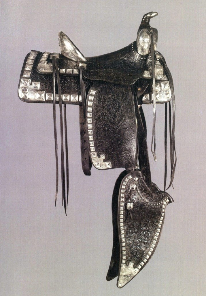 The star of the sale was a spectacular silver saddle (shown), bridle and breast collar created for television and film's original Lone Ranger, Clayton Moore, by Edward Bohlin, king of the parade saddle. The set more than doubled high estimate to bring $154,300.
