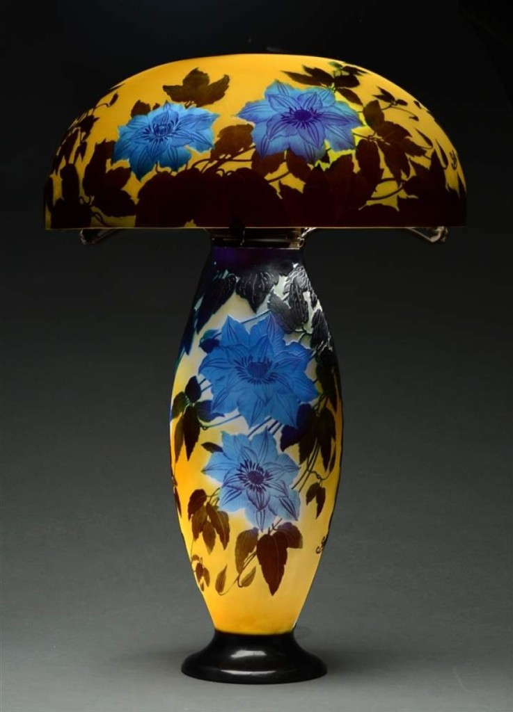 Monumental Galle Clematis Cameo Glass Lamp