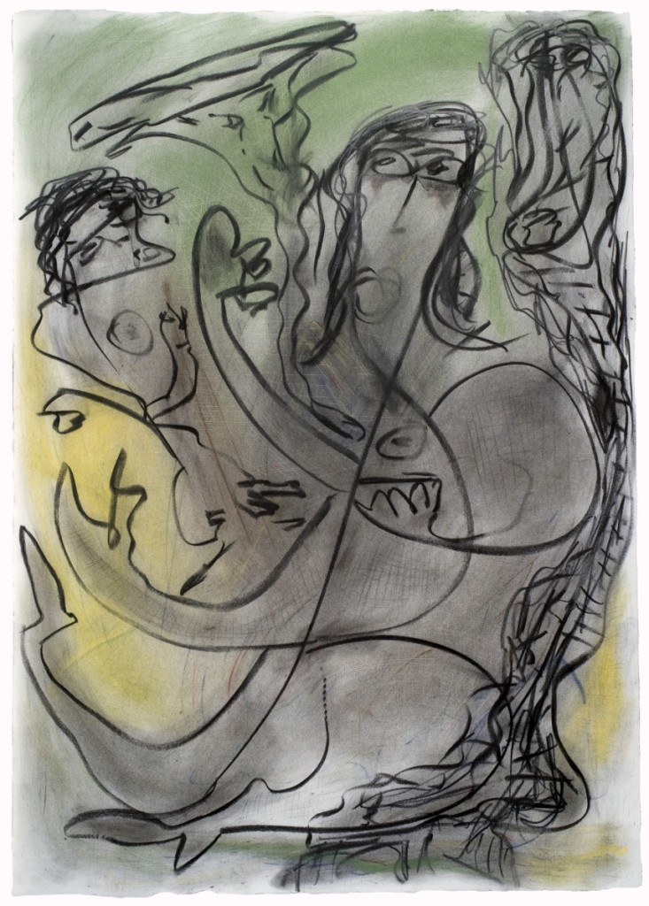 """""""Untitled (Mother and Child)"""" by Thornton Dial, 1995, charcoal and pastel on paper, 41¾ by 29-  inches."""