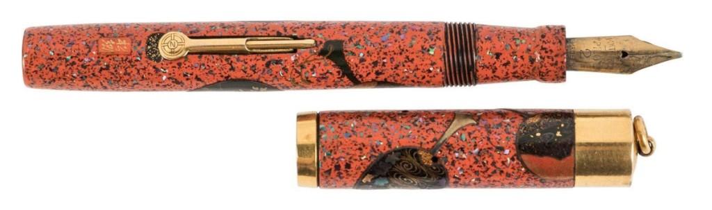 Vintage Namiki red lacquer Maki-e pen by Shogo, circa 1930, reached $25,000.