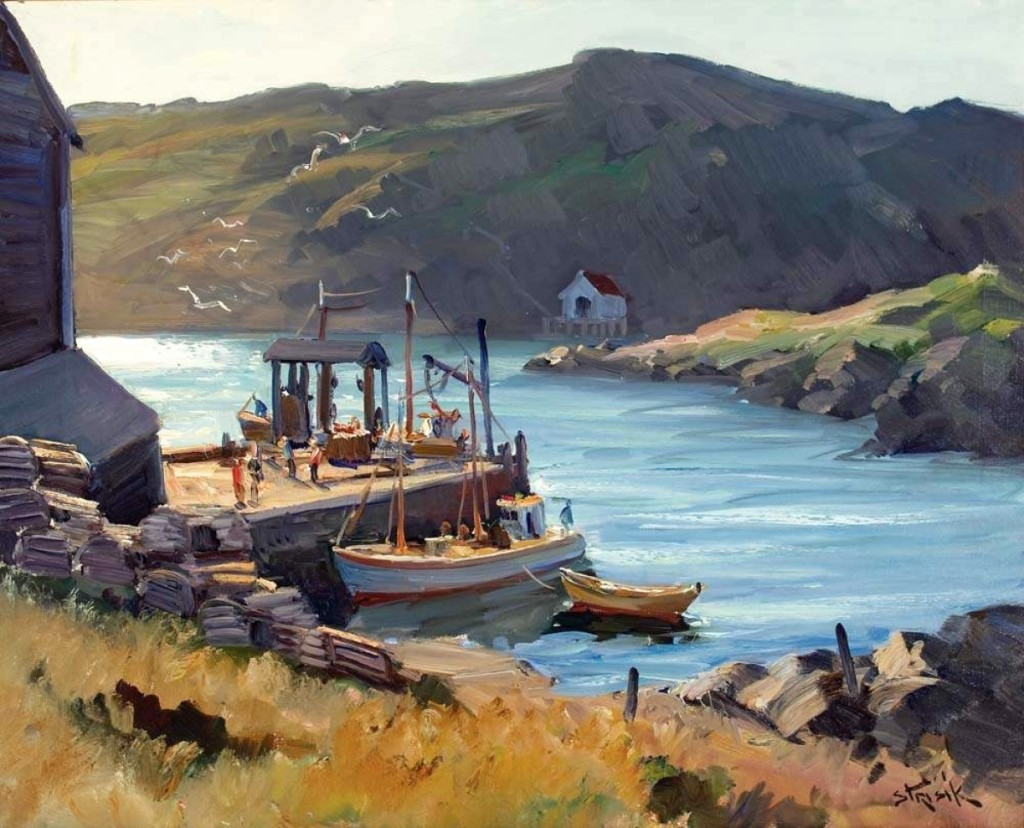 """Monhegan Pier"" by Paul Strisik (1918–1998), 1959, oil on canvas, 24 by 30 inches. Gift of Nancy Strisik, 2002."