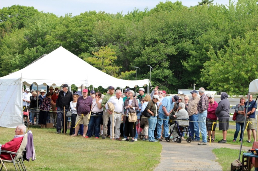 The crowd waiting to get in was too large to fit in one picture. Photo courtesy John DeSimone.
