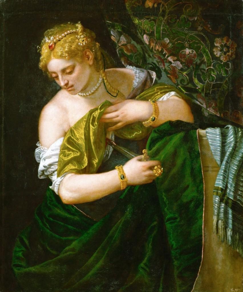 "Veronese, ""Lucretia,"" circa 1580–83, oil on canvas, 42-  by 35-  inches. Gemälderie of the Kunsthistorisches Museum, Vienna."