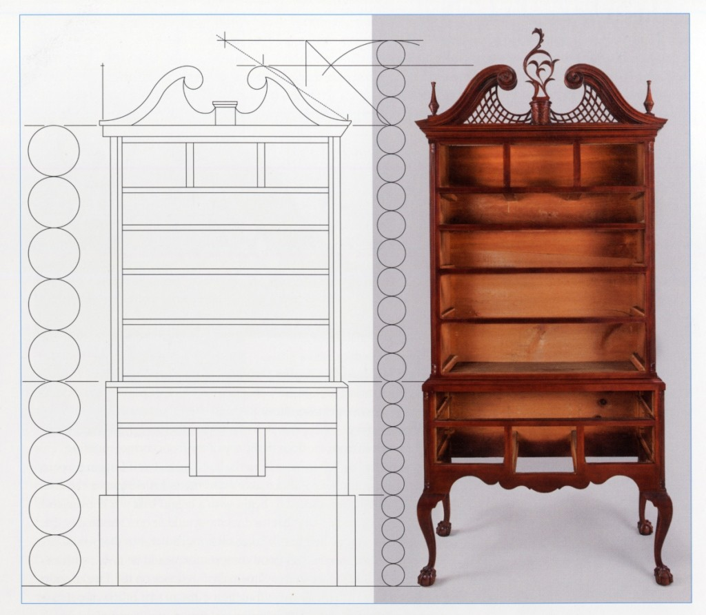 Line drawing of a Chapin high chest of drawers with a modular overlay. Drawing, Will Neptune; artwork, Wynne Patterson.