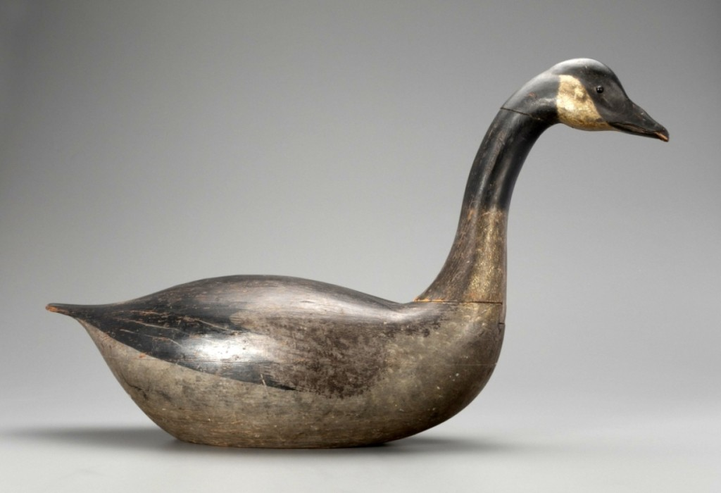 Earnest-Gregory dovetailed goose, Massachusetts or Pennsylvania, circa 1870, 29½ inches long, $810,000 ($500/800,000). Adele Earnest (1901–1993) discovered this Canada goose and two like it in Pennsylvania in 1954. O'Brien purchased the figure at Sotheby's auction of the estate of folk art collector Stewart E. Gregory (1913–1976) in 1979. Donal C. O'Brien Jr Collection.