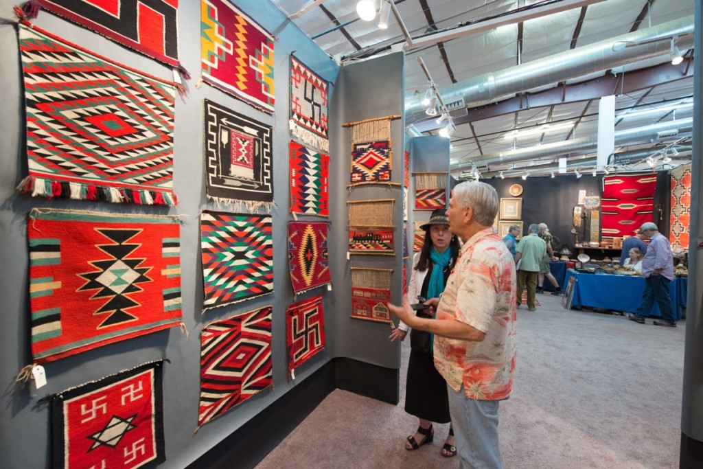 """The saddle blanket and small blanket portion of the special rug exhibit, """"Germantown Weaving: First Modern Art — 1870–1900."""""""