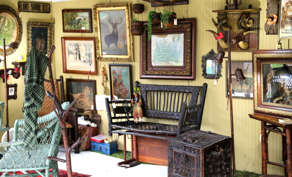 At the booth's center was a hickory swing with original bark weave. Linda Davidson Antiques, Landrum, S.C.