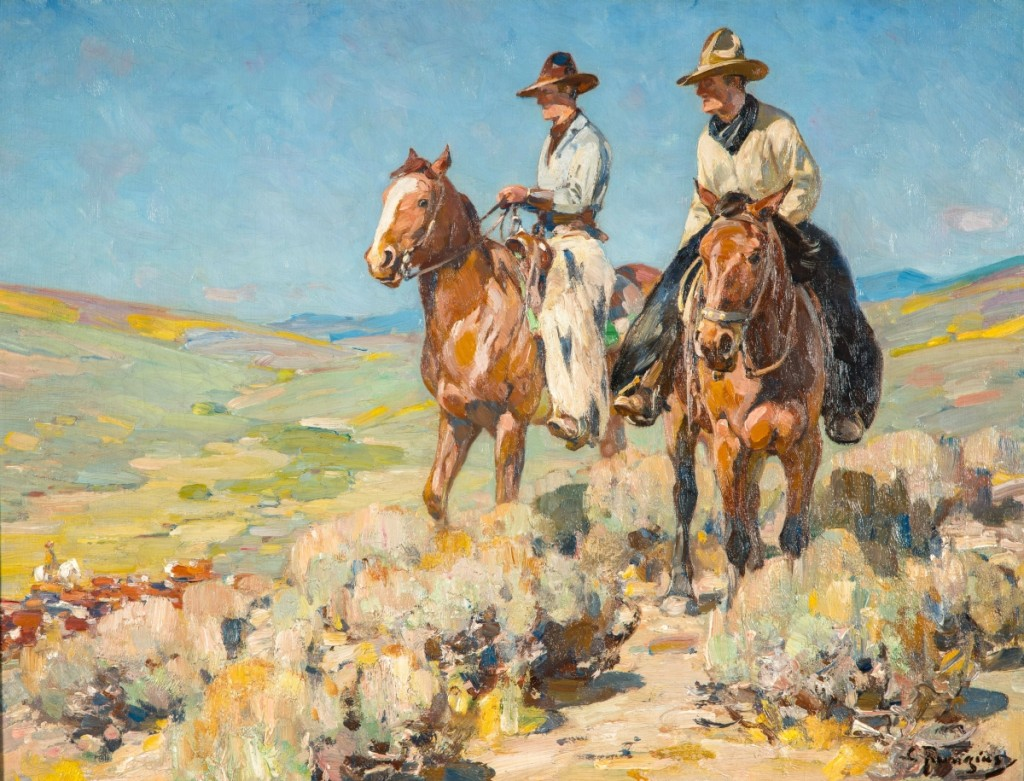 """""""Two Cowboys in the Saddle"""" by Carl Rungius, 1895–1950, oil on canvas, 24 by 31-15/16 inches. Bequest of William N. Beach. Photography by Andy Duback."""