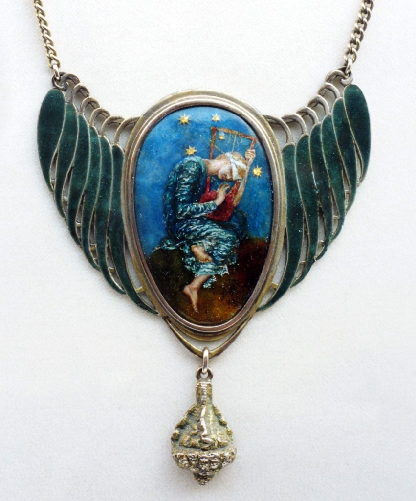 """Symbolist pendant, unknown maker after """"Hope"""" by George Frederic Watts (1817–1904), circa 1895. Enamel and silver. The collection of Richard H. Driehaus, Chicago. Photo courtesy Tadema Gallery."""