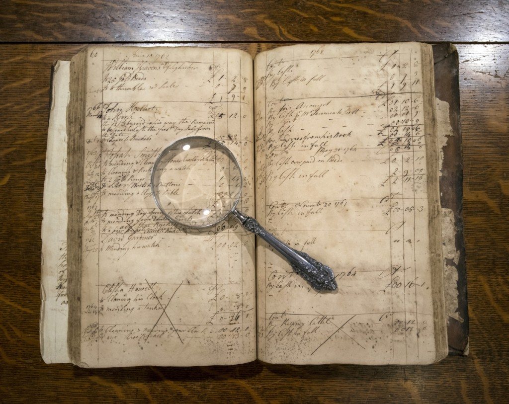 Account Book No. 2, kept by Elias Pelletreau, circa 1761–65, 1780–82. Leather binding and laid paper; 13 by 8½ by 1-  inches. Long Island Collection, East Hampton Library. Photo Gina Piastuck.