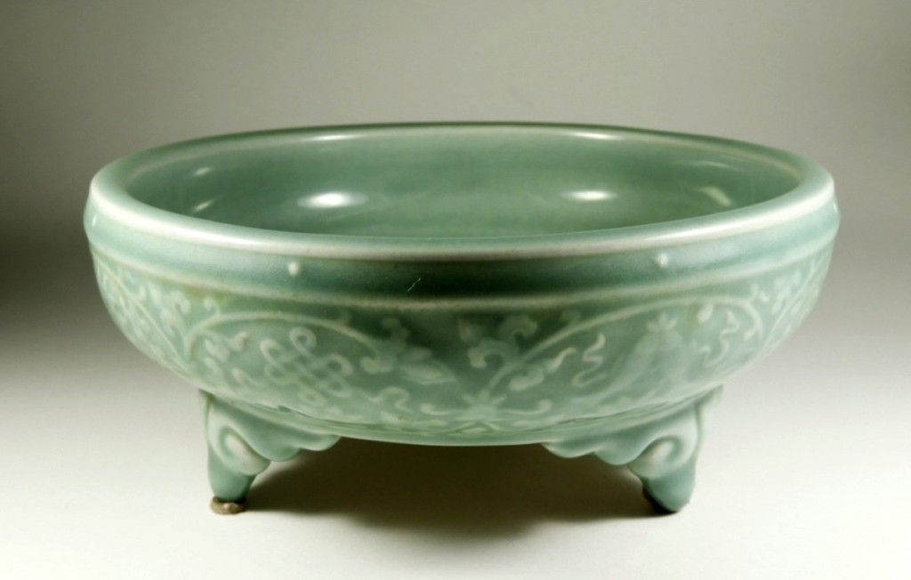 Celadon porcelain tripod censer bowl, China, diameter 7-  inches, $12,000 ($250/400).