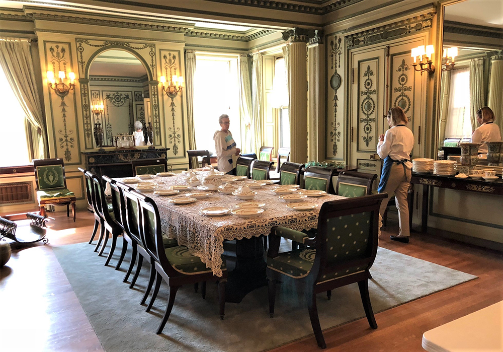 Codman's designs for the Harold Brown dining room remain intact. The French Empire-style banquet table went to a local buyer for $13,200. Twenty-five mahogany dining chairs with gilt-bronze mounts sold in two lots for a combined $6,080. A bid of $3,000 took the pair of marble-top pier tables, while two others went for $2,520. A center table brought $720.