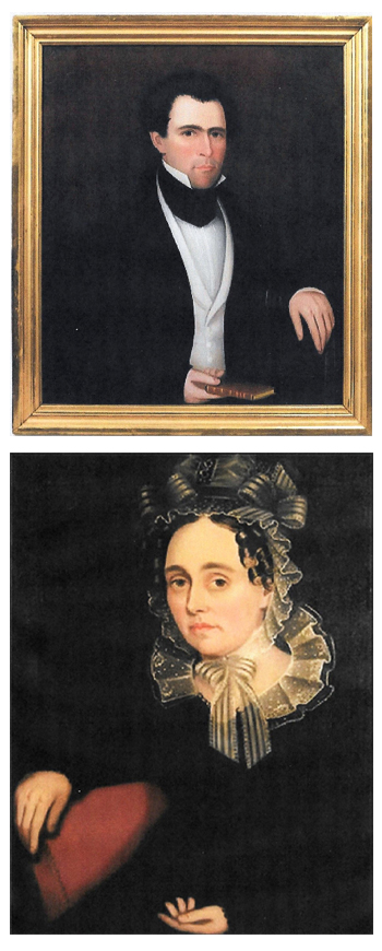 "TOP: ""Man Sitting in a Painted Chair Holding a Book"" by  Ammi Phillips.   BOTTOM: ""Betsy Sutherland"" by Ammi Phillips."