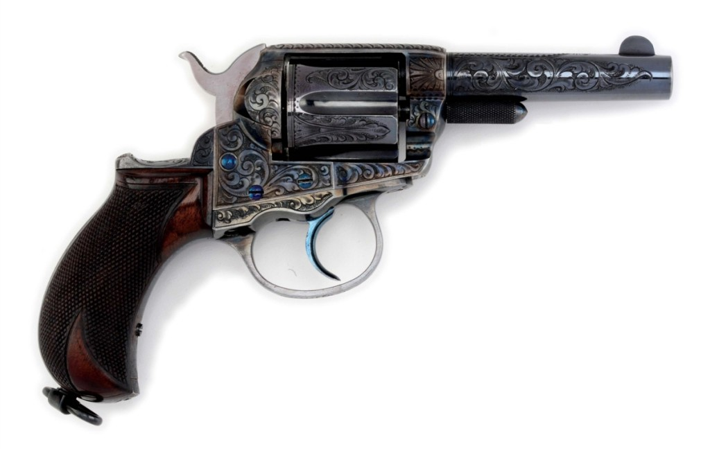 Topping the sale was a factory-engraved 1886 blue and case colored Colt Lightning, which blasted through its $70/90,000 estimate to finish at $190,650.