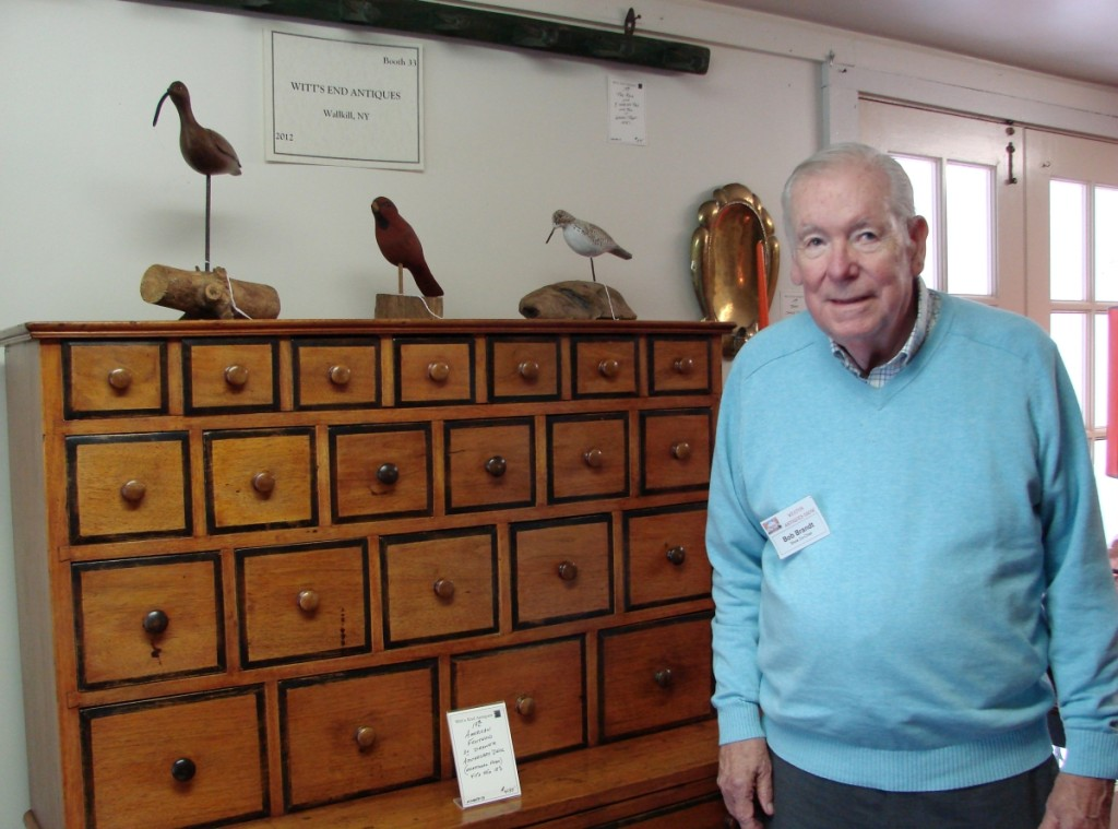 When Bob Brandt, one the show managers, was asked to identify his favorite item in the show, he immediately mentioned the 39-drawer apothecary desk in the booth of Witt's End Antiques, Wallkill, N.Y. It was priced at $4,195 and sold shortly after the show opened — but not to Brandt.