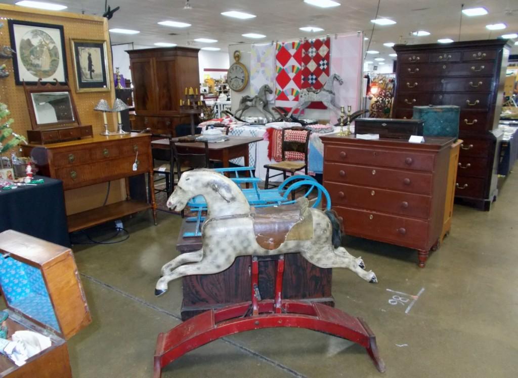 Steve Jenkins Antiques, Shelbyville, Ind., had three rocking horses and sold all of them over the weekend. He was set up with Sharon Green Antiques, Sharon, Conn.