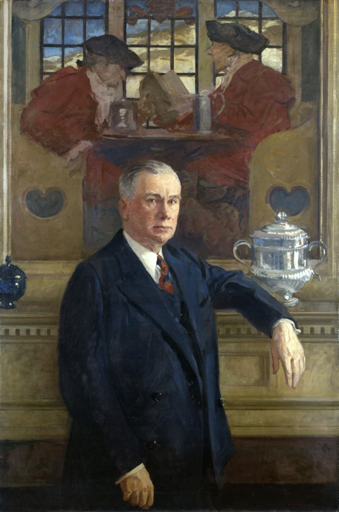 """Garvan clearly understood the importance of glass in his collection,"" says Gordon, noting Garvan's decision to have the blue sugar bowl painted into his portrait. ""Francis P. Garvan"" by Augustus Vincent Tack, circa 1930. Oil on canvas. Bequest of Mabel Brady Garvan."