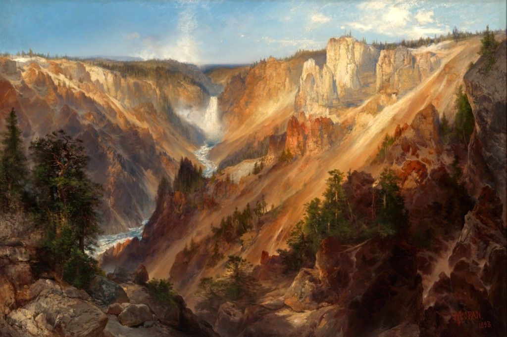"""""""Lower Falls, Yellowstone Park (Grand Canyon of the Yellowstone)"""" by Thomas Moran (American, 1837–1926), 1893. Oil on canvas. Gift of Thomas Gilcrease Foundation, 1955, Gilcrease Museum."""