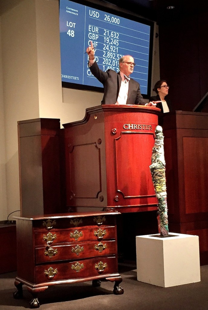 John Hays selling from the podium during Christie's January 2017 Americana sales.   —Antiques and   The Arts Weekly photo