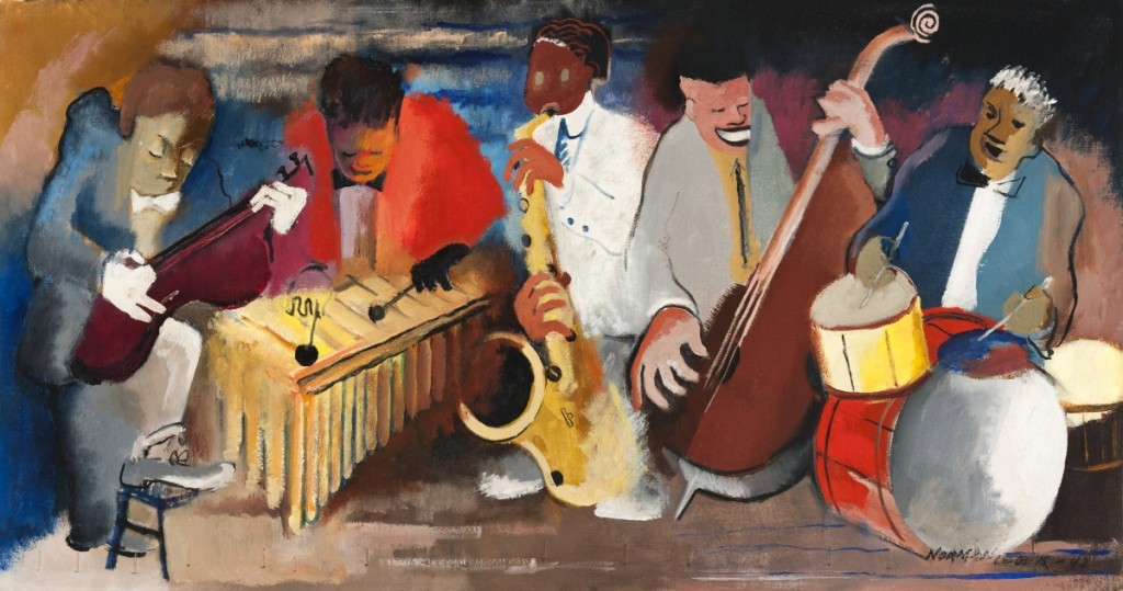 "Norman Lewis (1909–1979), ""Jumping Jive,"" 1942, oil on canvas, 16-  by 30 inches, signed.   Courtesy of Michael Rosenfeld Gallery LLC, New York City. ©Estate of Norman W. Lewis;   Courtesy of Michael Rosenfeld Gallery LLC, New York City."