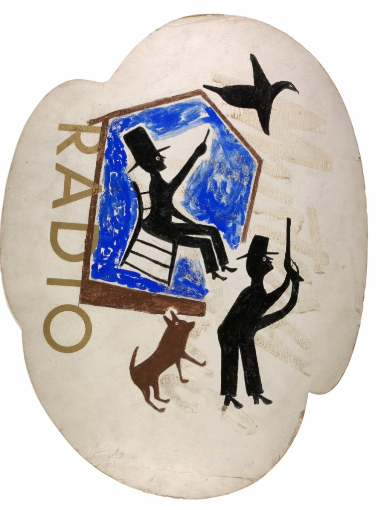 """""""Untitled (Radio)"""" by Bill Traylor, circa 1940–42. Opaque watercolor and pencil on printed advertising paperboard. Smithsonian American Art Museum, museum purchase through the Luisita L. and Franz H. Denghausen Endowment. Photo by Gene Young."""