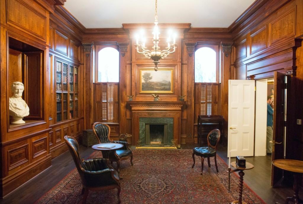Custom woodwork by an Illinois craftsman enhances the Civics Library.