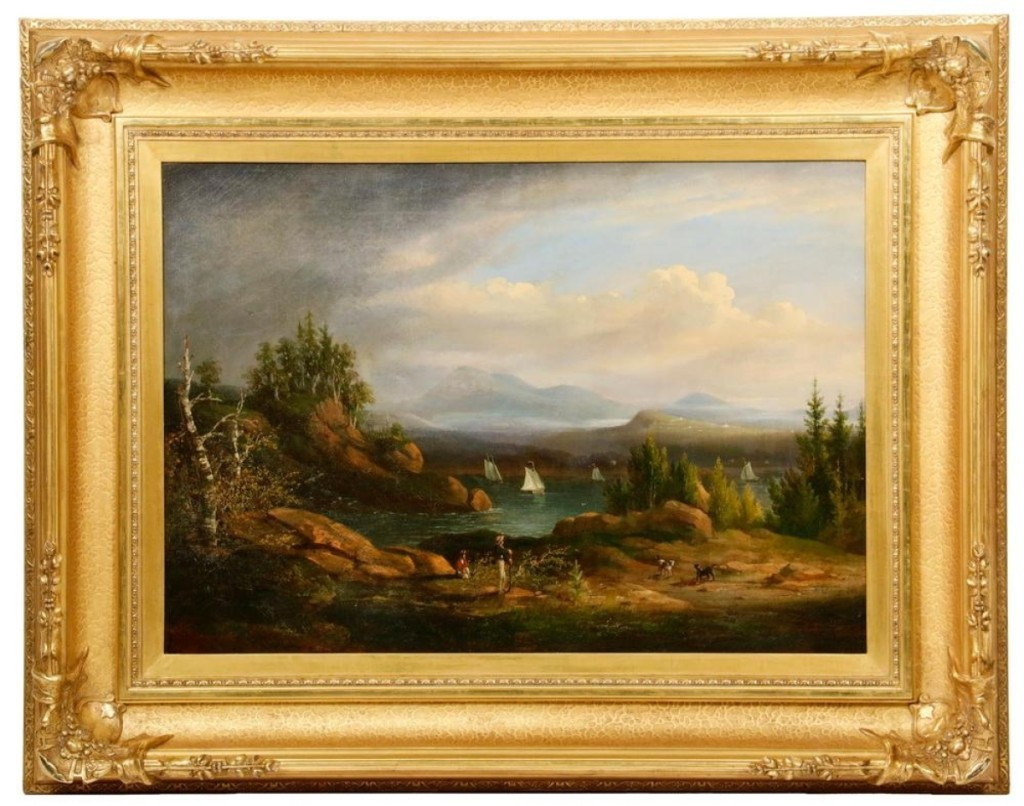 "The cover lot of the sale, ""Somes Sound,"" an oil on canvas, by Thomas Doughty (1793–1856), brought $14,625. The scene, on Mount Desert Island, was a small mountain harbor with sailboats and figures of a man and woman in the foreground."