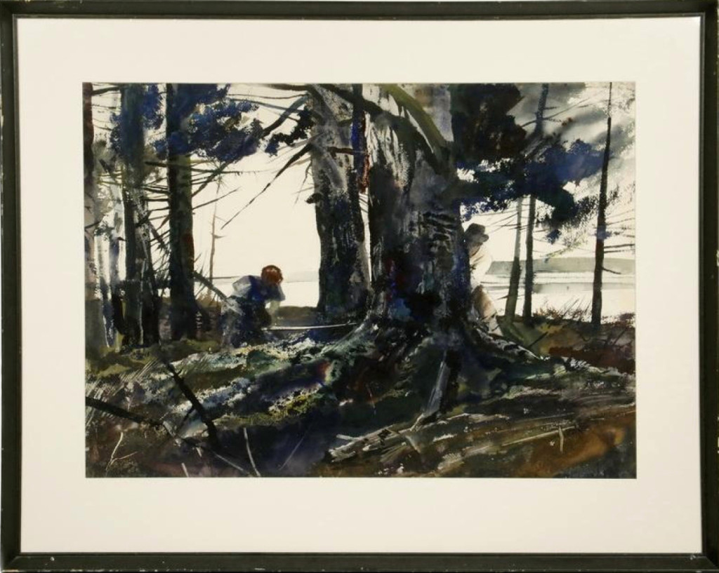 "The star of the auction was Andrew Wyeth's watercolor, ""Spruce Timber,"" which brought $122,750. It depicted a scene in Cushing, Maine."
