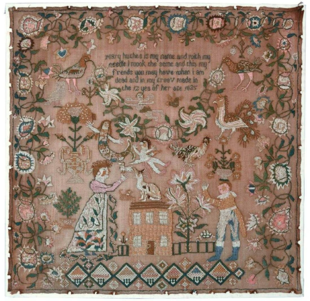 The top lot of the sale was an 1825 sampler stitched by Mary Hughes. It took $20,000. Giampietro said he had six bidders on it, including major sampler dealers, but a retail customer bested them all and took it home.