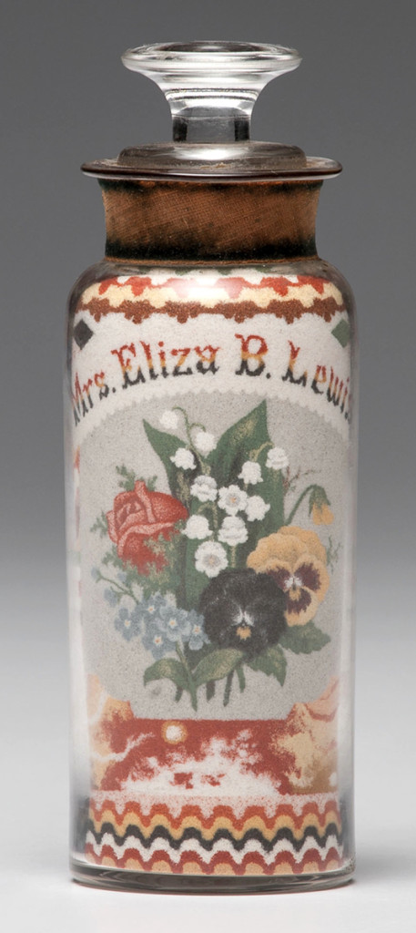 Andrew Clemens (1857–1894), sand bottle depicting an American spread-winged eagle underneath a flag of 36 stars on one side and a floral bouquet below the name Mrs Eliza B. Lewis on the other. When the bottle finally sold for $132,000, applause burst out in the room.