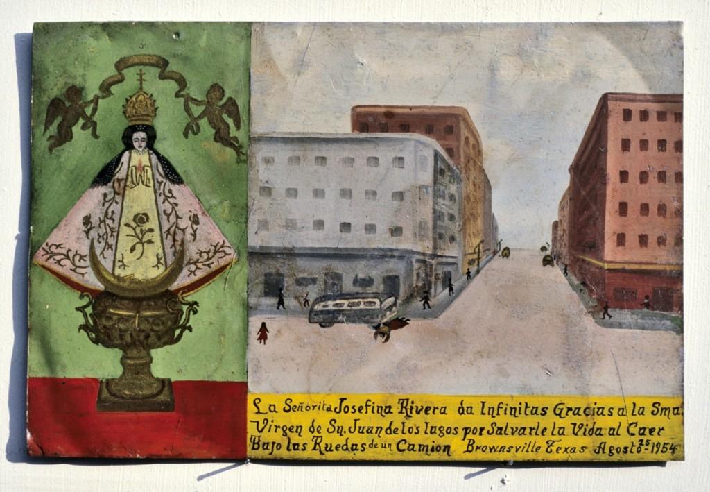 Retablo of Josefina Rivera for safety in a bus accident, Mexico, 1954. Tempera on tin. Durand-Arias Collection.