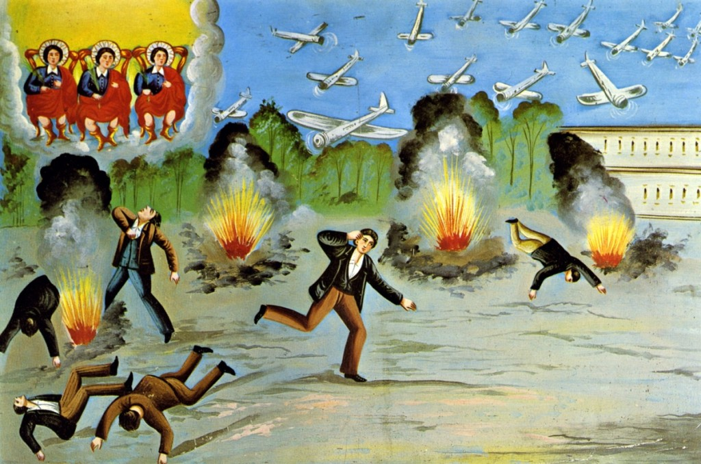 """Votives are frequently personalized so that the identities of those involved are made clear. Its inscription in Italian can be translated as """"Miracle granted to Cavallaro Guiseppe da Pedara on December 17, 1944 (Catania)."""" Votive painting of Cav. Giuseppe of Pedara for protection during an aerial bombing offered to Saints Alfio, Filadelfo and Cirino, Sicily, 1944. Oil on metal. Rudolf Kriss collection, Asbach Monastery, Bayerisches Nationalmuseum, Munich. ©Bayerisches Nationalmuseum Munich.                                               —Walter Haberland photo"""