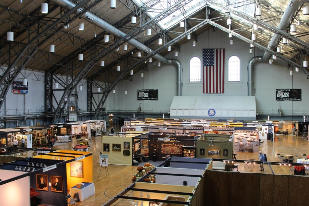 Completed in 1909, the Classical Revival-style state armory is the largest such facility in Connecticut and serves as headquarters of the Connecticut Military Department. It is a big footprint in which to house an antiques show.