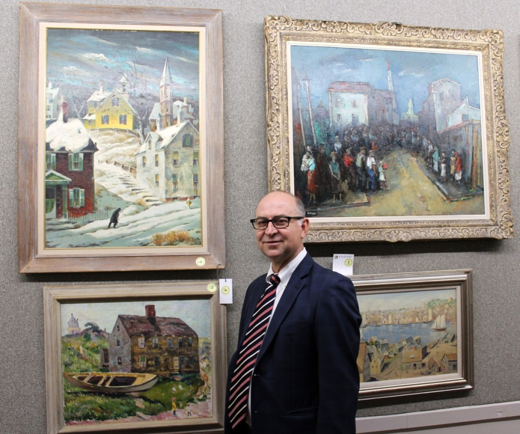 "The Henry Gasser ""Winter Steps"" painting, shown upper left, was receiving a lot of presale interest, according to auctioneer Frank Kaminski."