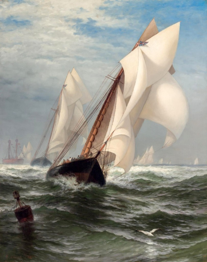 """Top lot of the day, Edward Moran's """"The Winning Yacht,"""" sold at $112,500."""