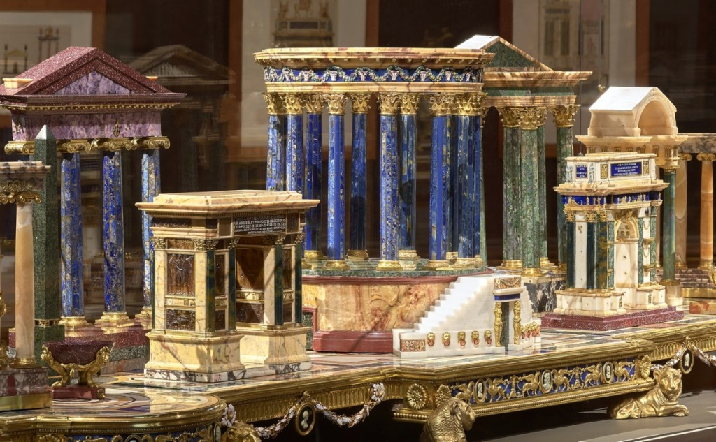 Oval room at The Frick, installation view of deser for Jacques-Laure Le Tonnelier, Bailli de Breteuil (detail), circa 1778, gilt bronze, enamel, colored marbles, amber, lapis lazuli, amethyst, garnets, ivory, and agate, Patrimonio Nacional, Palacio Real, Madrid and Museo Arqueológico Nacional, Madrid. Photo by Michael Bodycomb