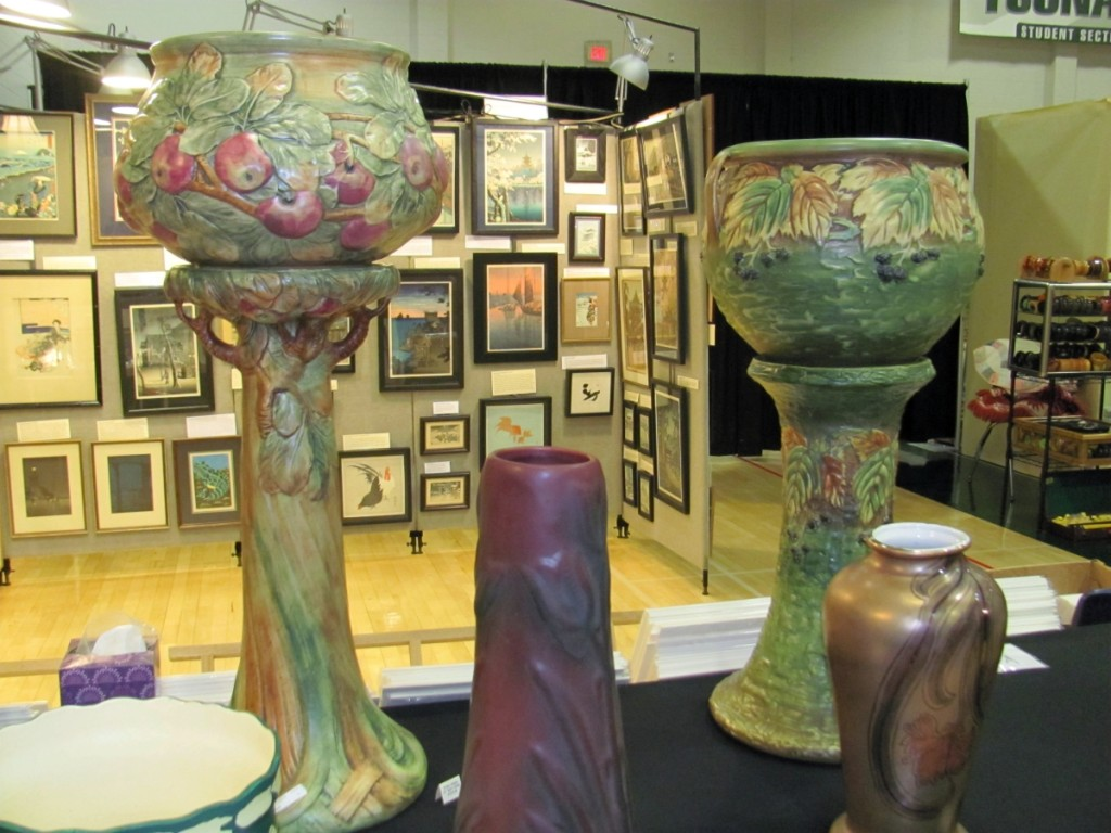 Patti Bourgeois of Pats Pots had these two striking jardinières on pedestals. The one on the left was made by Weller, in the Baldwin pattern. The one on the right was by Roseville, in the Blackberry pattern. The Westport, Mass., dealer had priced them at $1,295 and 1,795, respectively.