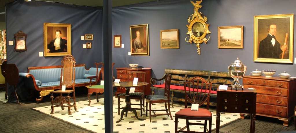 Christopher T. Rebollo Antiques, Lahaska, Penn. The painted settee against the back wall of the booth was made in the McFarland-McDowell shop in Mount Vernon, Ohio, about 1840. Andrew Richmond facilitated the sale of the settee to Ohio clients of his.